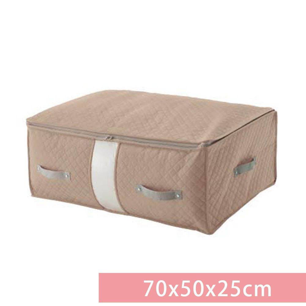 日本千趣會 - 防蟎防霉棉被床墊收納袋(附輔助壓帶)-杏褐色 (70x50x25cm)