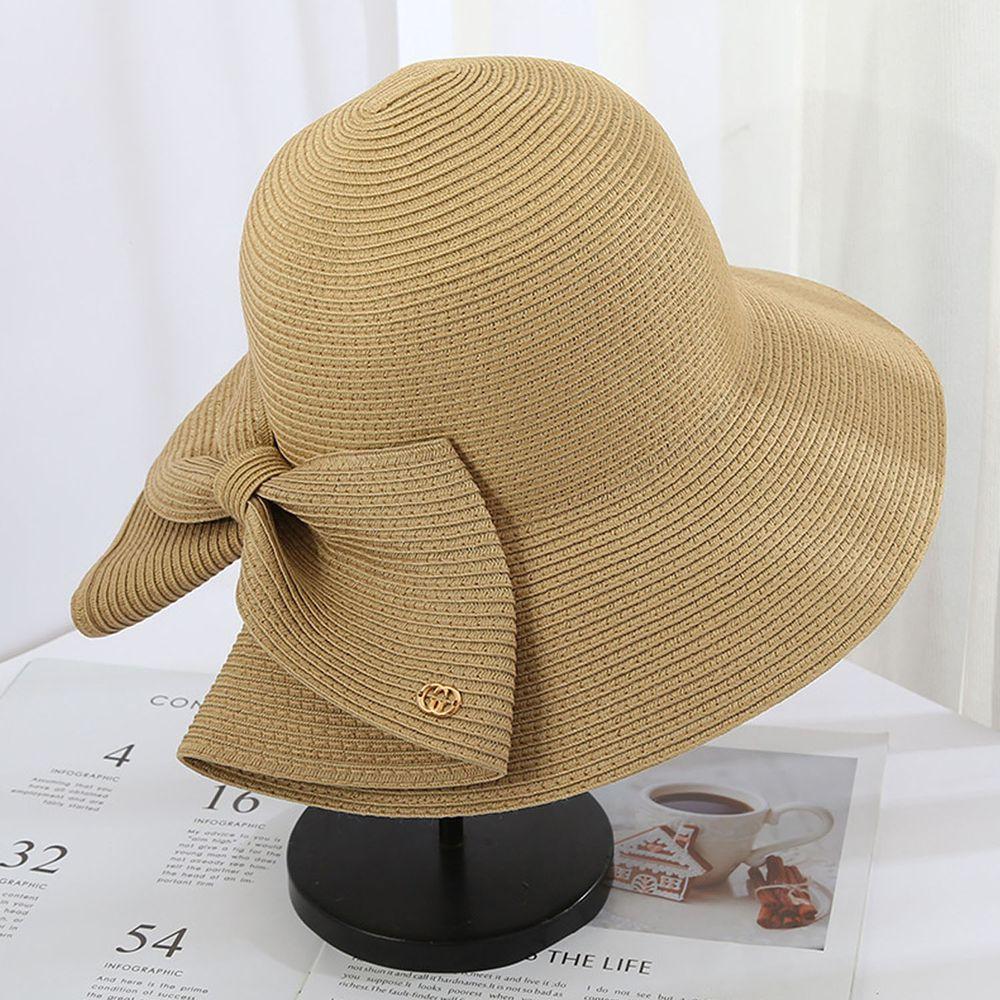 成人時尚大帽沿防曬草帽-蝴蝶結-卡其色 (56-58cm)