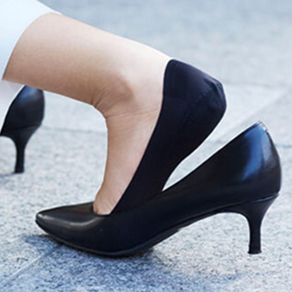 日本 okamoto - 超強專利防滑ㄈ型隱形襪-淺履款-黑-足底棉混