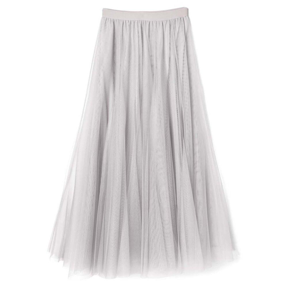 日本 GRL - 飄逸顯瘦雙層傘紗裙-銀河灰 (M)
