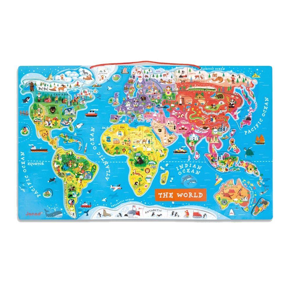 Janod - 【現貨】磁性木質拼圖-世界地圖(英文)