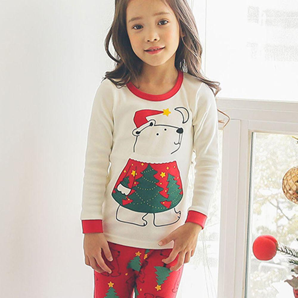 韓國 Puco - (剩90號)20支無螢光棉長袖家居服-聖誕北極熊