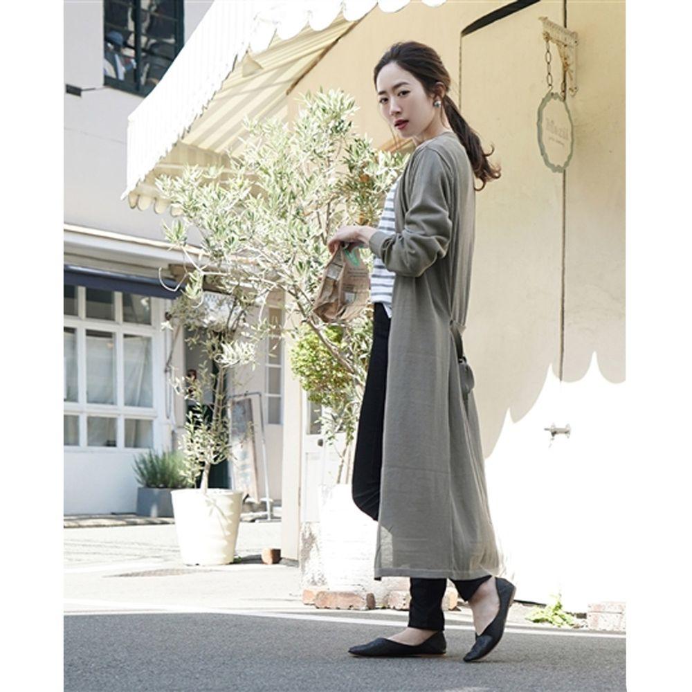 日本 zootie - 涼感X防曬速乾 綁帶長版罩衫/外套-灰卡其