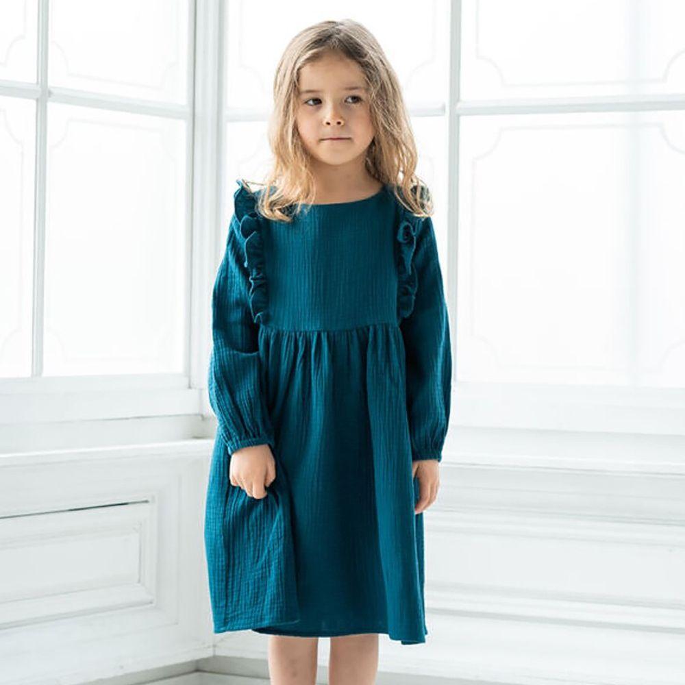日本 riziere - 純棉 復古皺痕小荷葉長袖洋裝-土耳其藍綠