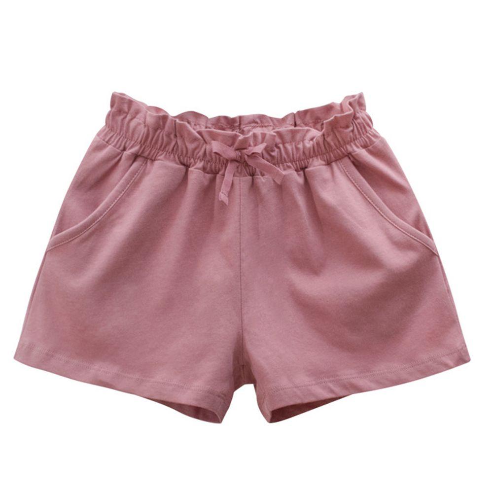 花邊鬆緊純棉短褲-暗粉色