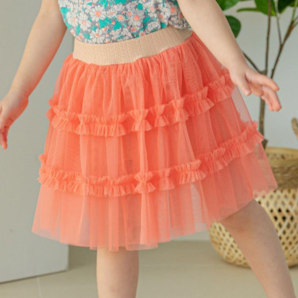 韓國 Orange Mom - 網紗拼接短褲裙-橘紅