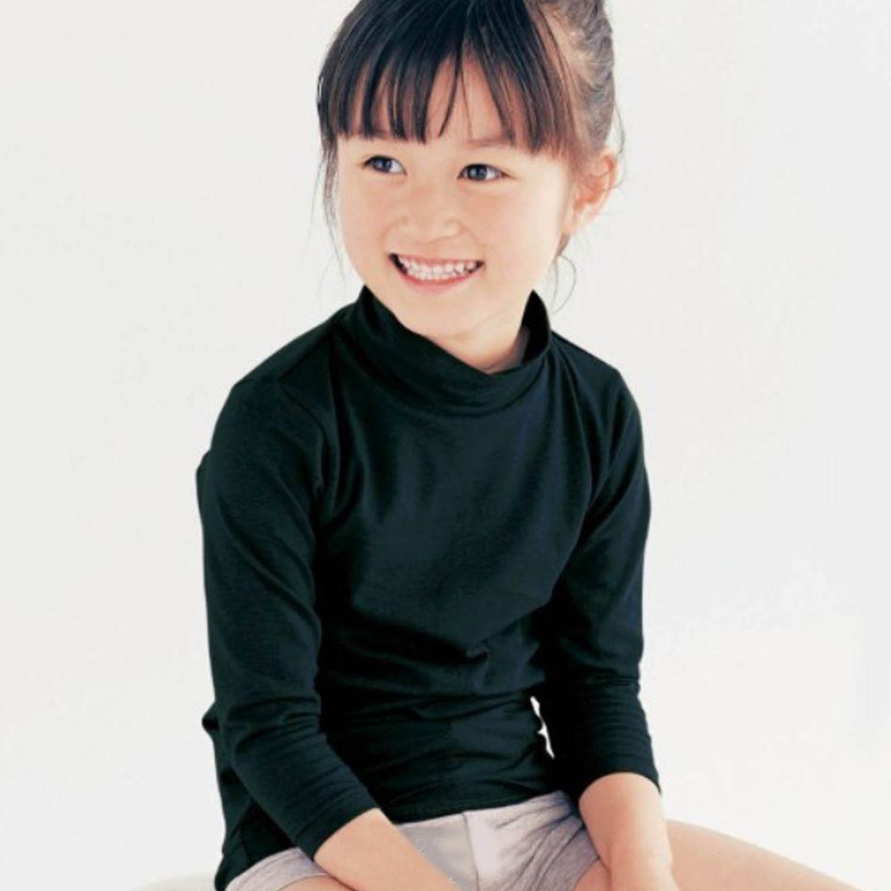 日本千趣會 - 95%棉 (兒童)九分袖高領發熱衣-黑色