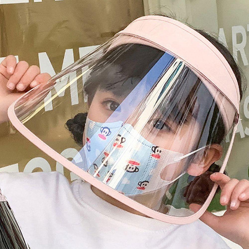 兒童可拆卸面罩防飛沫/遮陽防曬空頂帽-兩片式-粉色