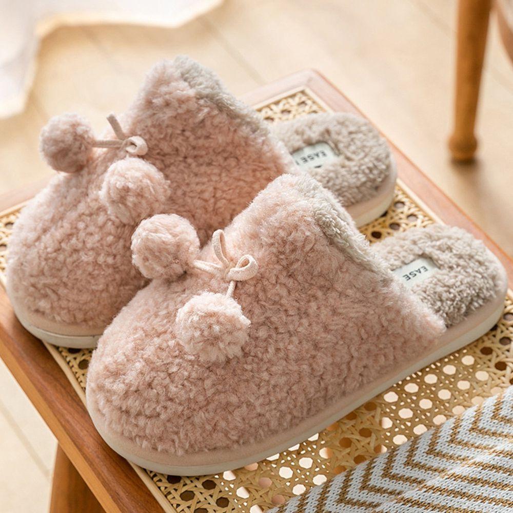 防滑保暖毛毛拖鞋-毛球-粉紅