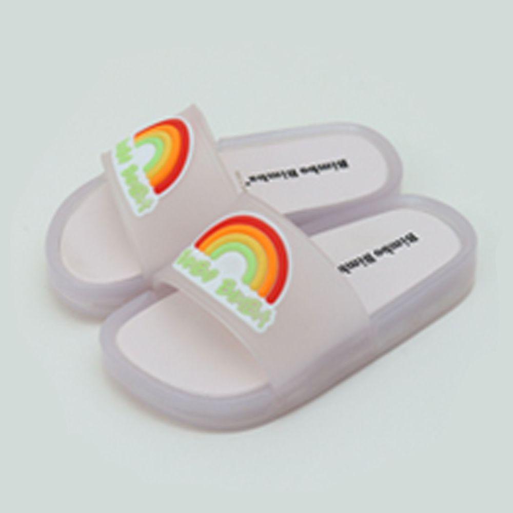韓國 Bimbo Bimba - (LED燈)加厚底彩虹果凍拖鞋-灰