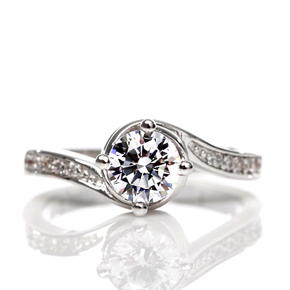 美國ILG鑽飾 - Love flow 流轉愛情 0.75克拉戒指 – 頂級美國ILG Diamond,媲美真鑽亮度的鑽飾【RI099】-加贈高級珠寶級絨布盒1個-外國抗敏材質電鍍頂級白K金色