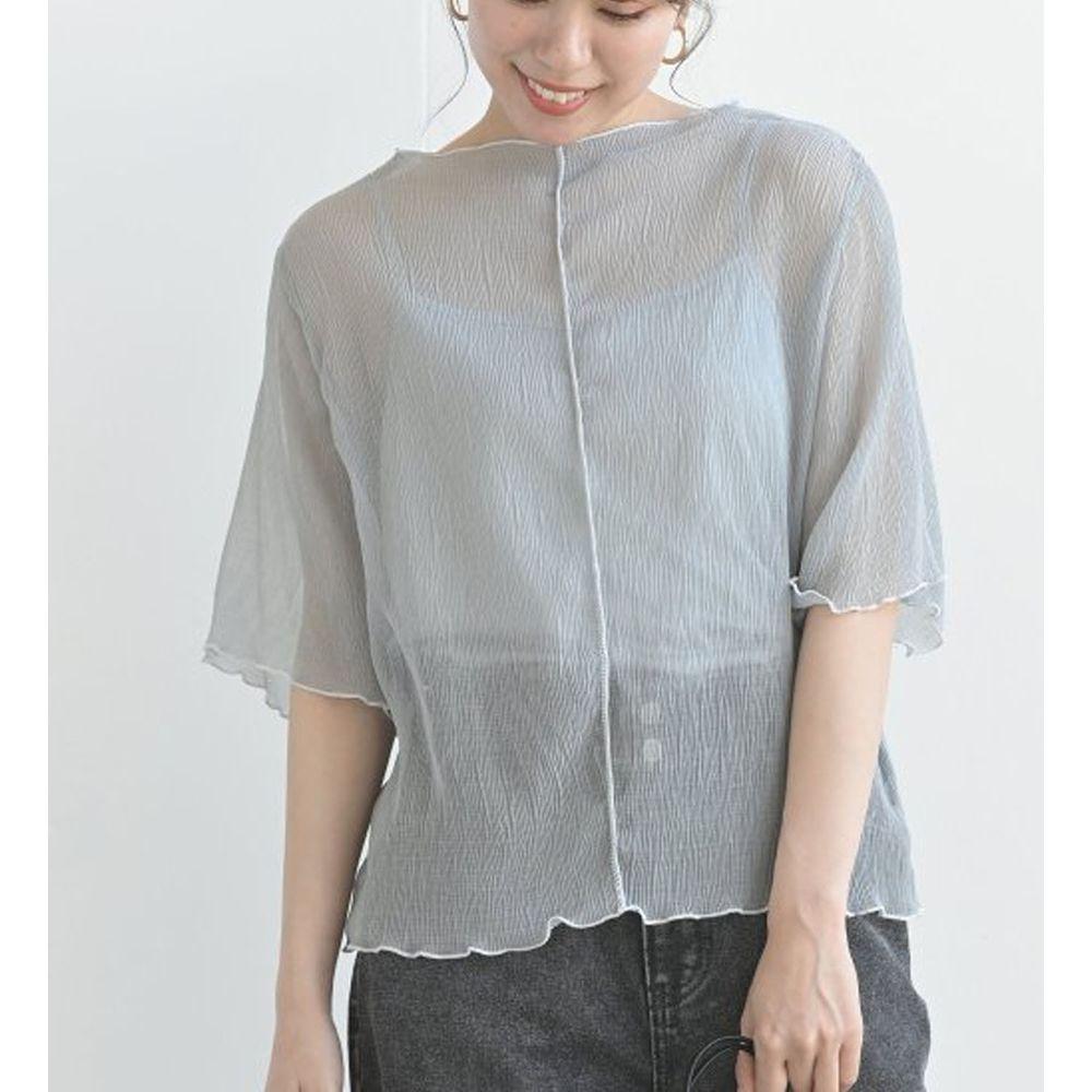日本 ELENCARE DUE - 楊柳風微透膚五分袖上衣X背心套裝-薄荷