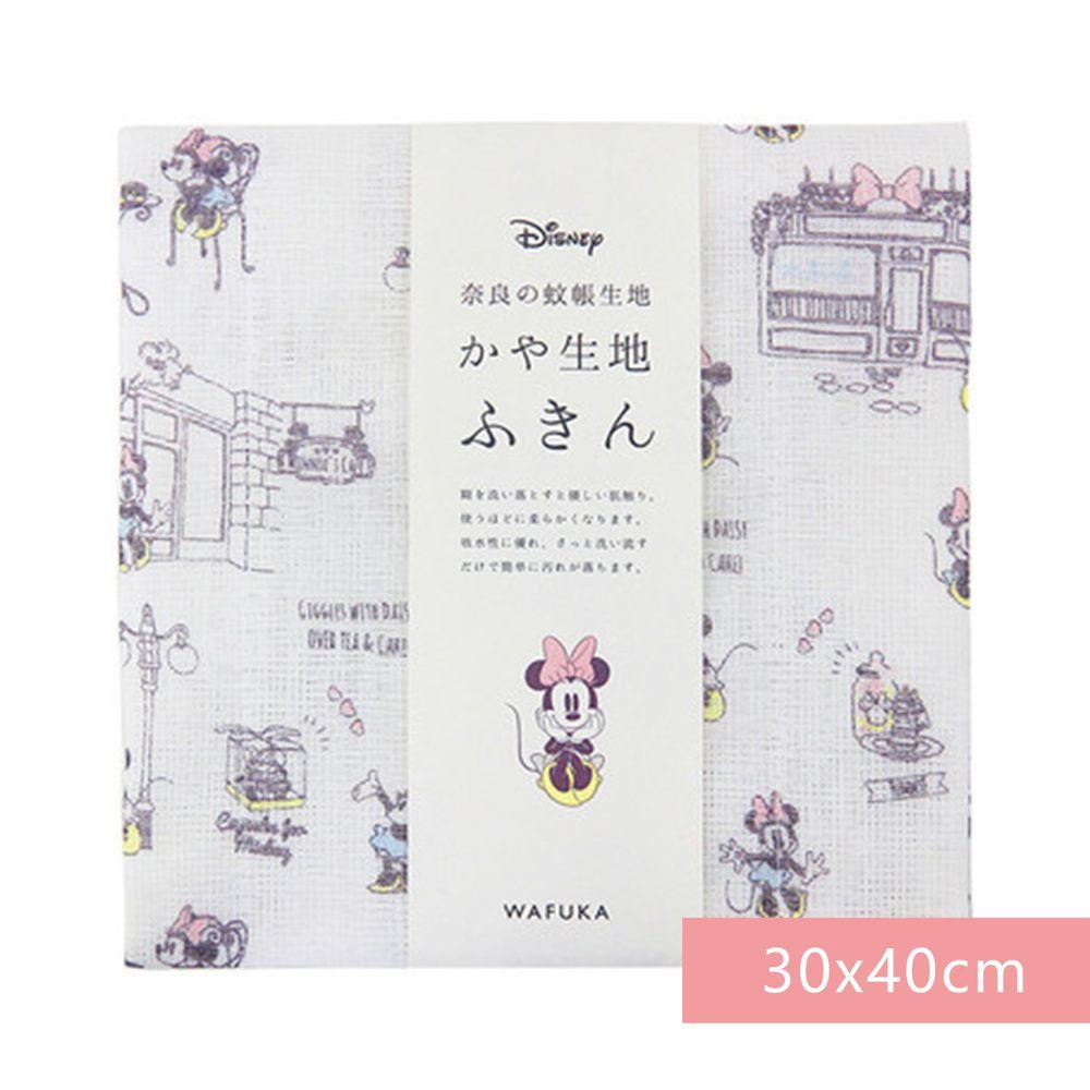 日本代購 - 【和布華】日本製奈良五重紗 方巾-米奇米妮約會去 (30x40cm)