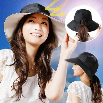 造型抗UV馬尾遮陽帽(附綁帶)-黑 (頭圍53-60cm)