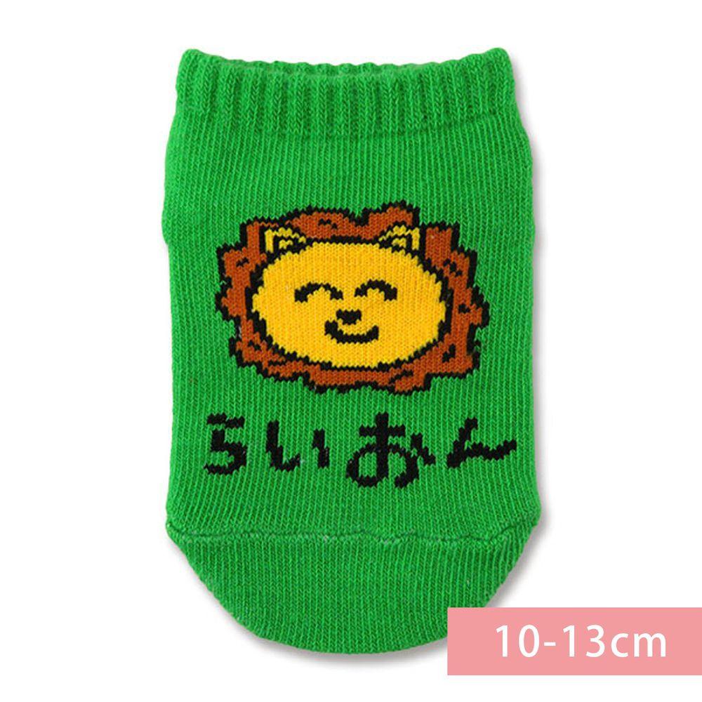 日本 OKUTANI - 童趣日文插畫短襪-獅子-綠 (10-13cm(1-3y))