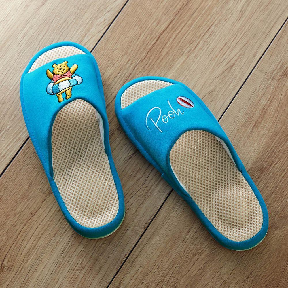 日本千趣會 - 迪士尼刺繡透氣鞋墊室內拖-維尼游泳圈-水藍