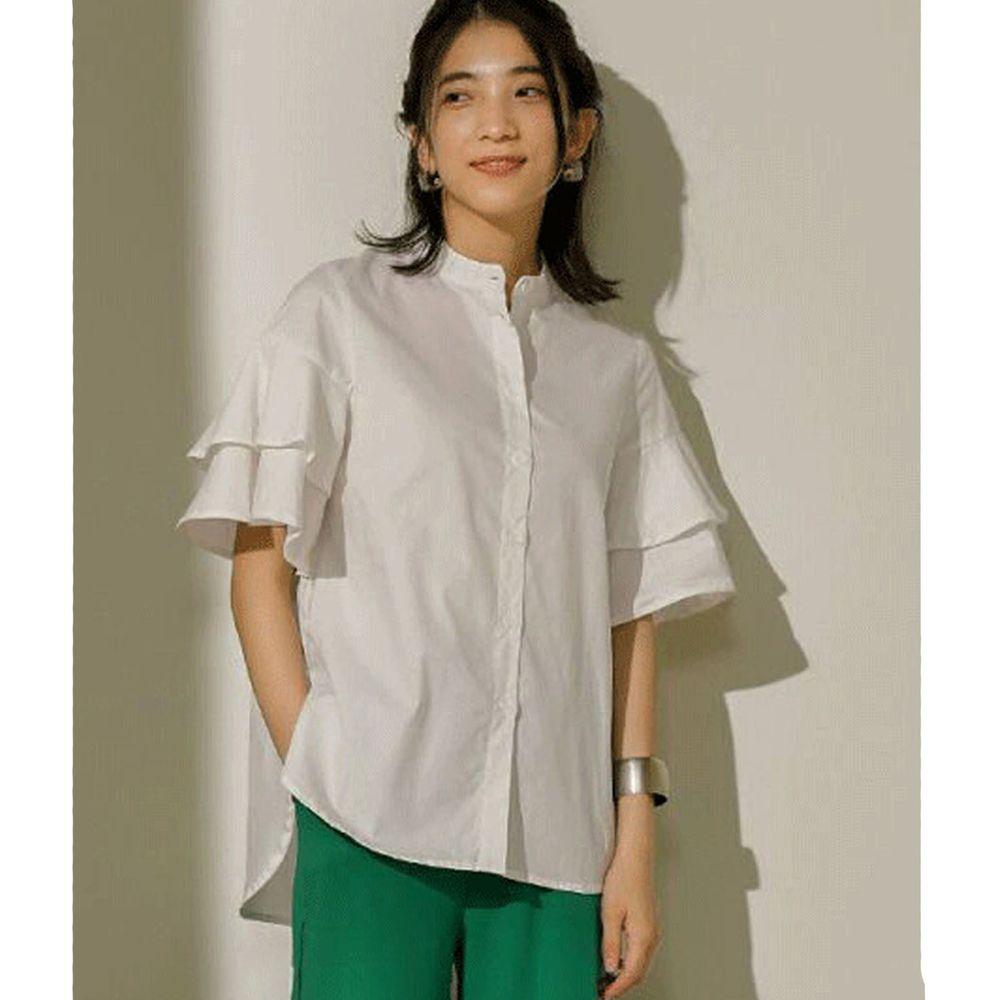 日本 Bou Jeloud - 雙層荷葉設計短袖襯衫-白