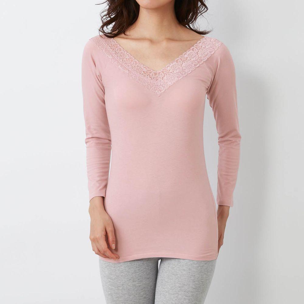日本千趣會 - 95%棉 (媽媽)蕾絲領口九分袖發熱衣-粉紅