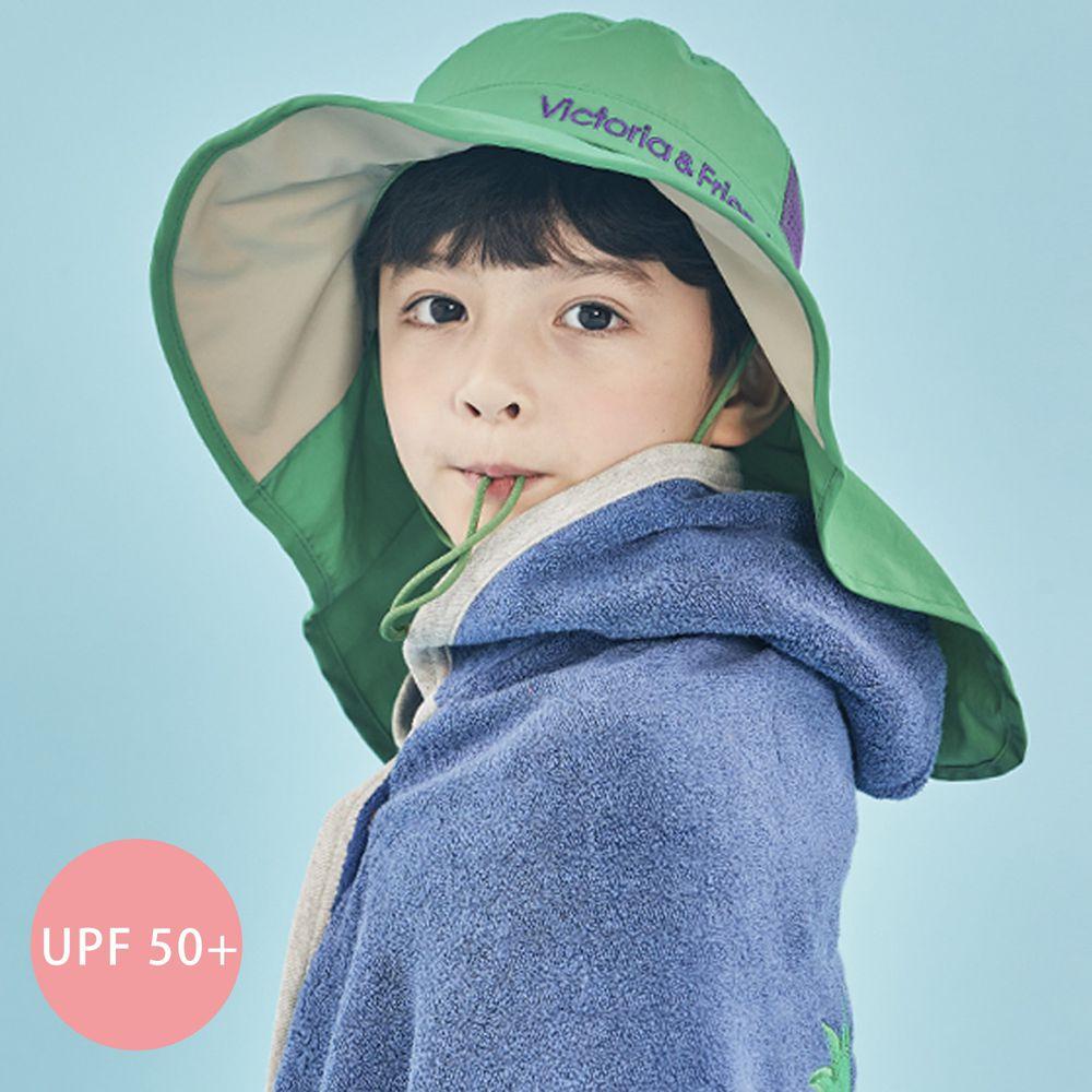 韓國 Victoria & Friends - (剩L)UPF 50+ 防水透氣遮陽帽/戲水帽(附哨子)-綠