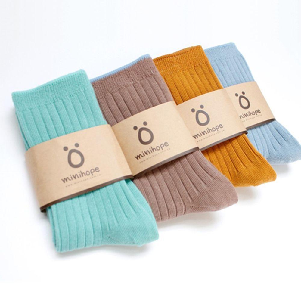 minihope美好的親子生活 - 好穿搭精梳棉襪4件組-好穿搭組合-藍、湖藍、咖啡、芥黃各1雙