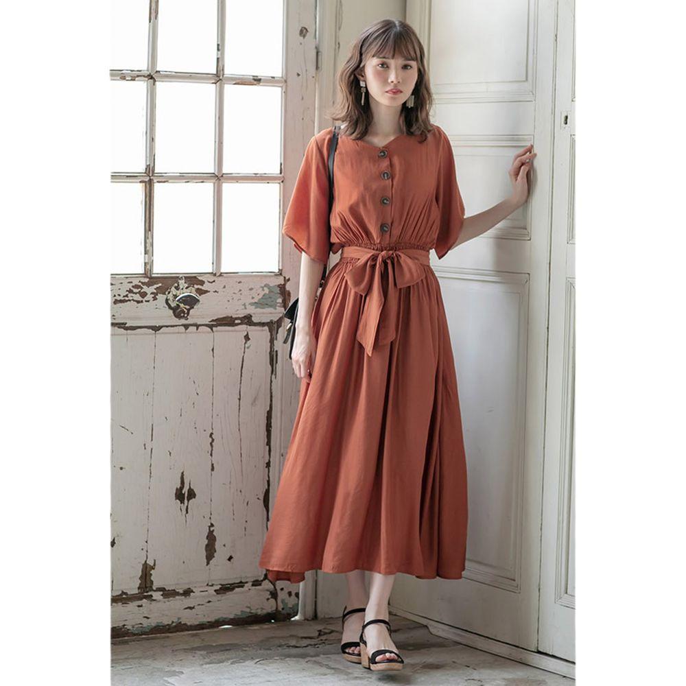 日本 GRL - 浪漫垂墜風排釦大綁帶五分袖洋裝-磚橘
