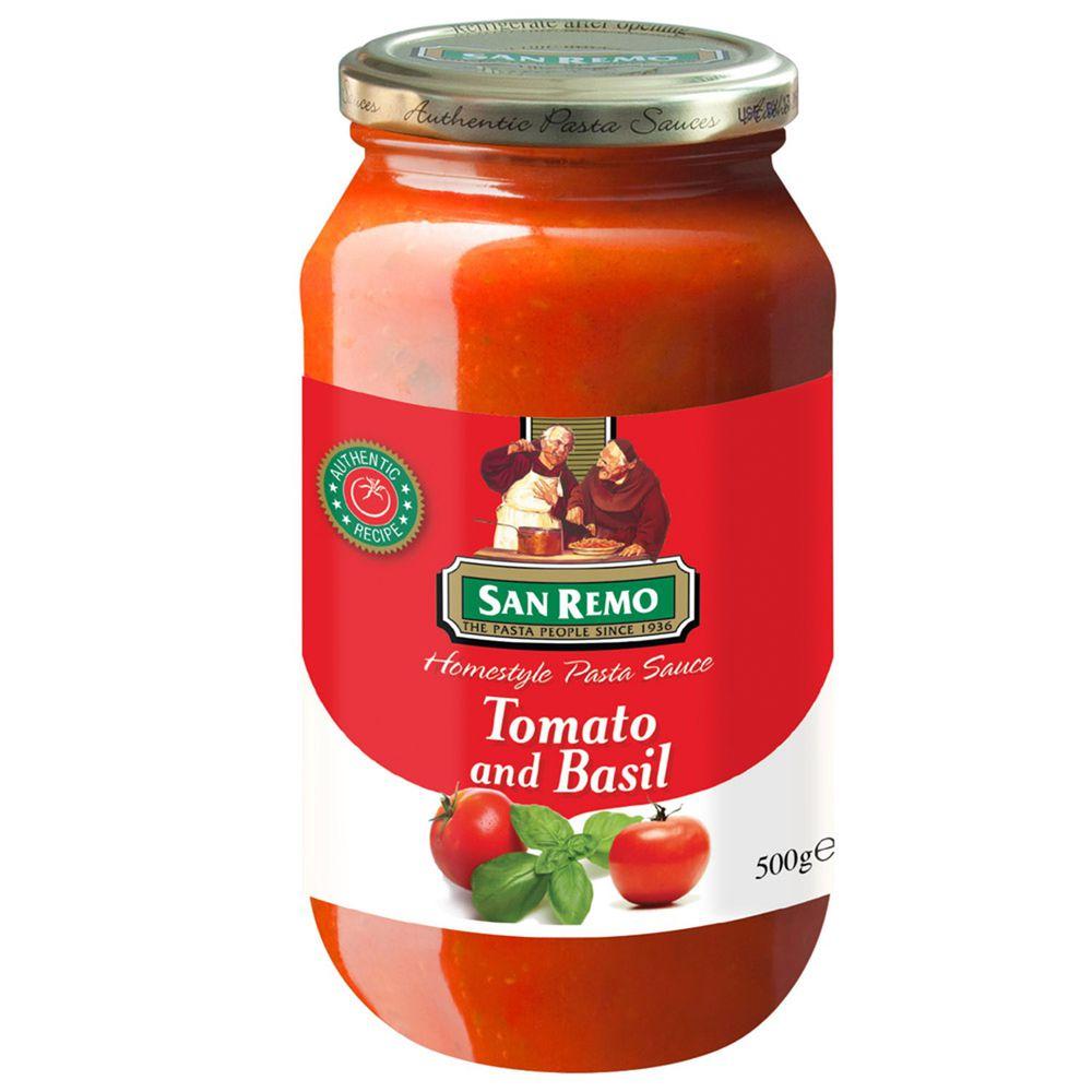 Sanremo - 聖雷蒙頂級麵醬-蕃茄羅勒-500g