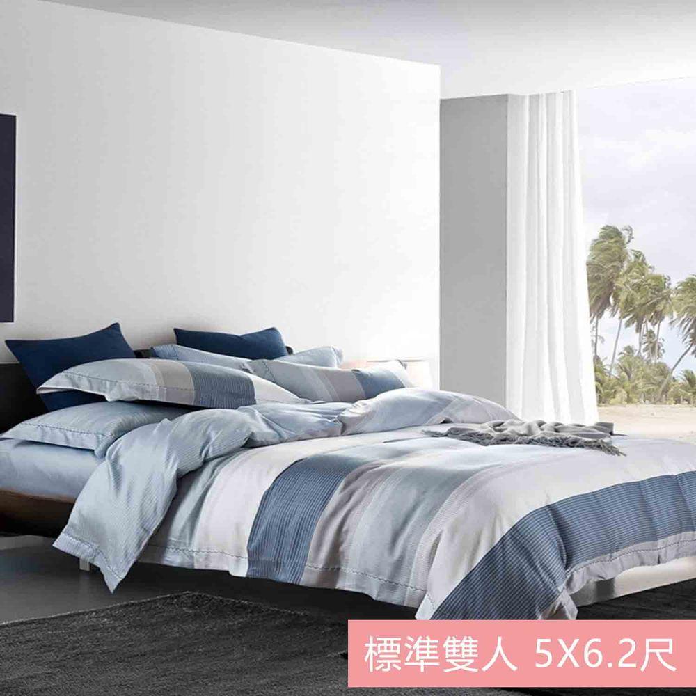 飛航模飾 - 裸睡天絲加高版床包組-簡奢(雙人床包兩用被四件組) (標準雙人 5*6.2尺)