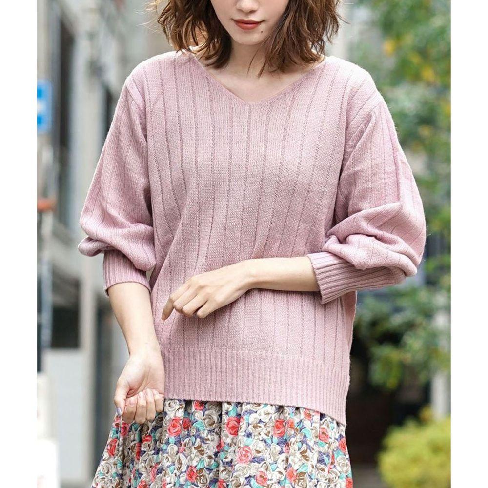 日本 zootie - 顯瘦V領粗羅紋薄針織上衣-灰粉