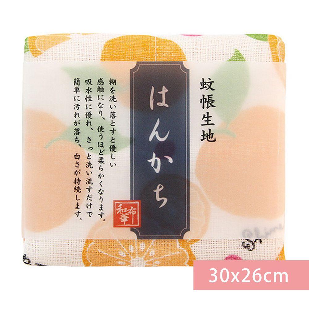 日本代購 - 【和布華】日本製奈良五重紗 手帕-柑橘 (30x26cm)