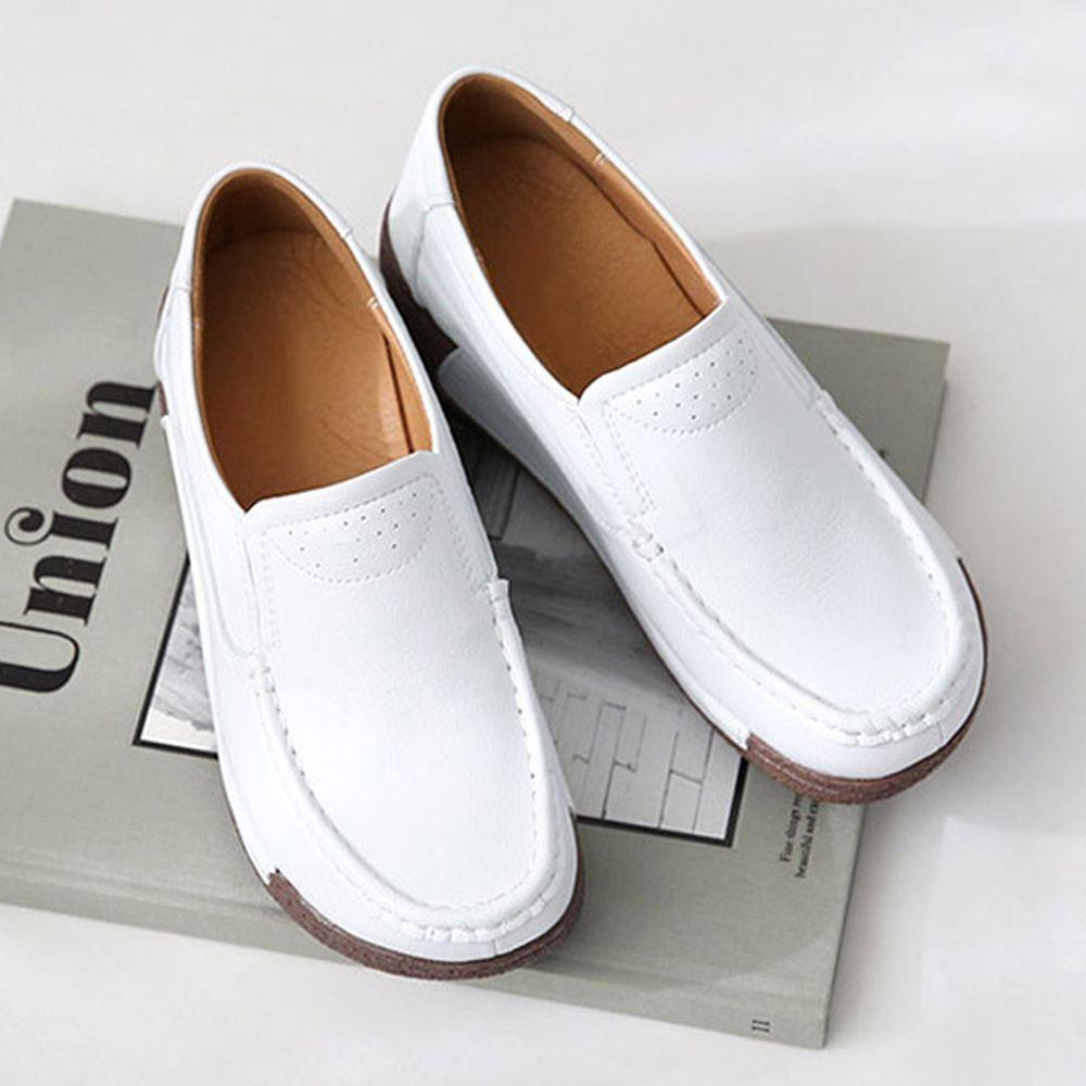 韓國 Dangolunni - 透氣皮革後底休閒鞋(6cm高)-白