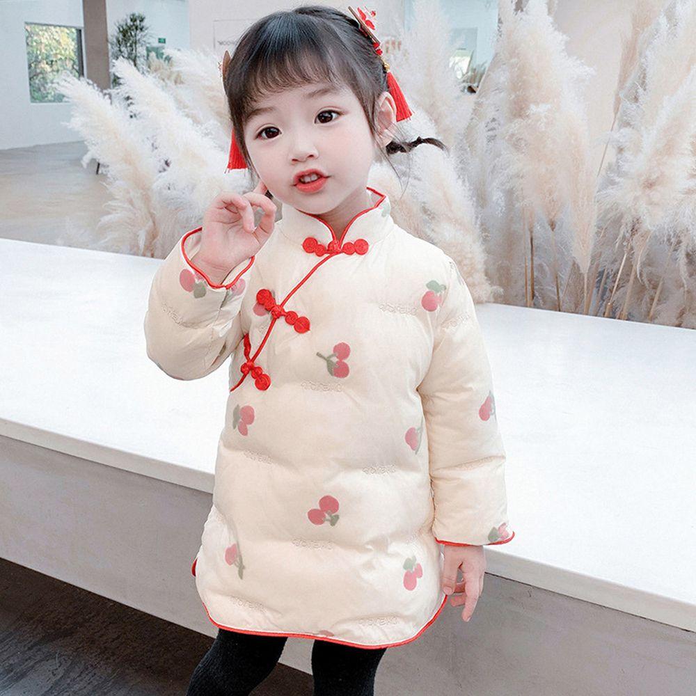 復古夾棉旗袍洋裝-櫻桃