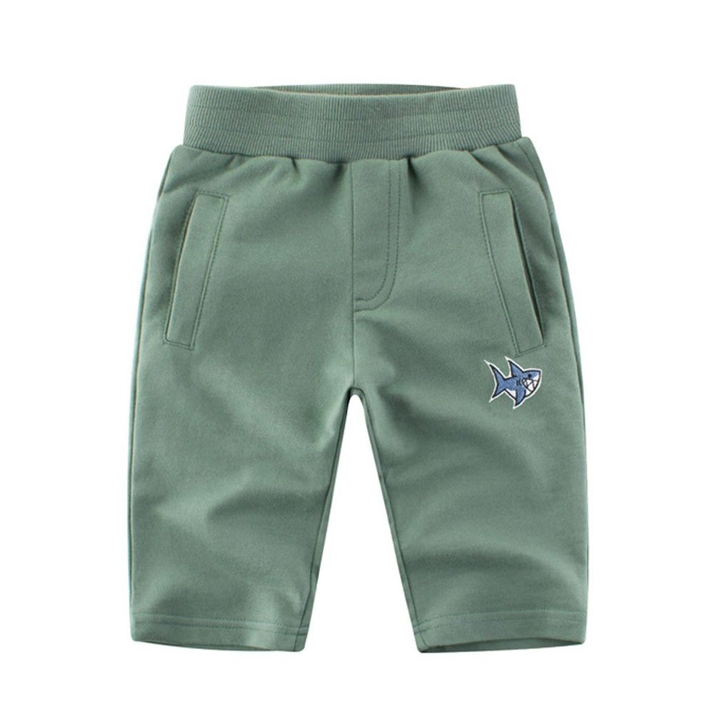 鯊魚圖標七分褲-艾綠