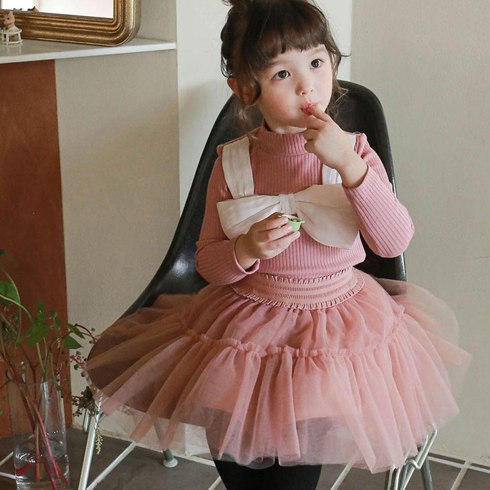 韓國 Puellaflo - 大蝴蝶結裝飾羅紋針織上衣-玫瑰粉
