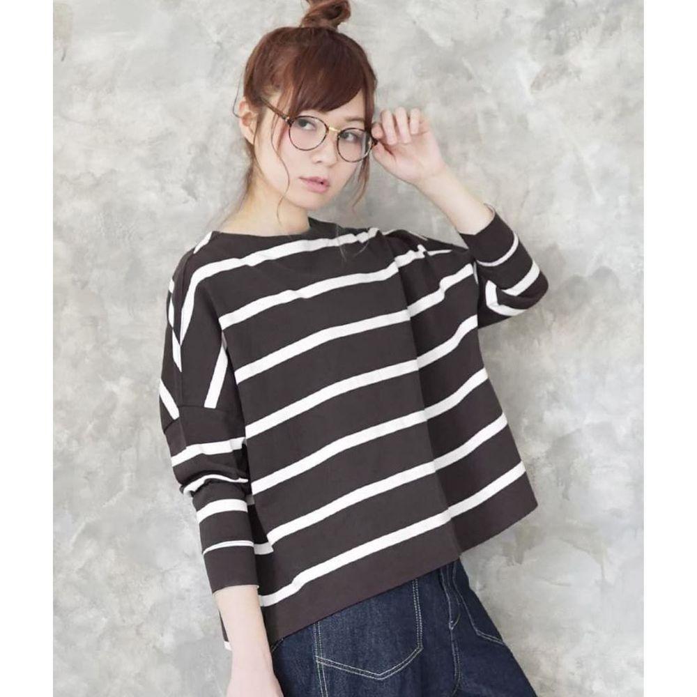 日本 zootie - [撥水/撥油加工] 抗油污耐洗純棉長袖上衣-條紋-深灰X白