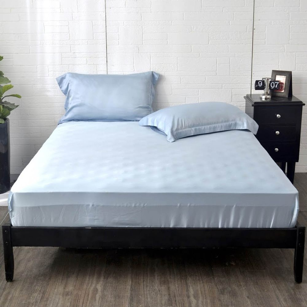 格蕾寢飾 Great Living - 義大利La Belle《簡約純色》天絲床包枕套組-藍色