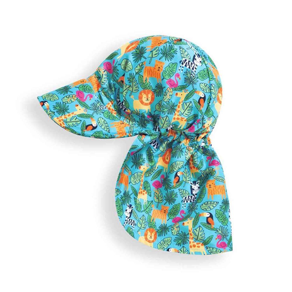 英國 JoJo Maman BeBe - 嬰幼兒/兒童UPF50+防曬護頸遮陽帽-歡樂叢林