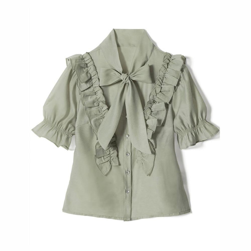 日本 GRL - 純棉優雅荷葉邊蝴蝶結綁帶短袖襯衫-莫蘭迪綠