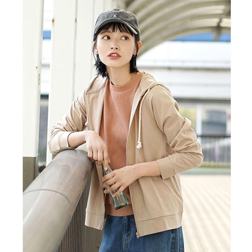 日本 zootie - 撥水X吸水速乾加工 抗透汗純棉防曬連帽外套-杏