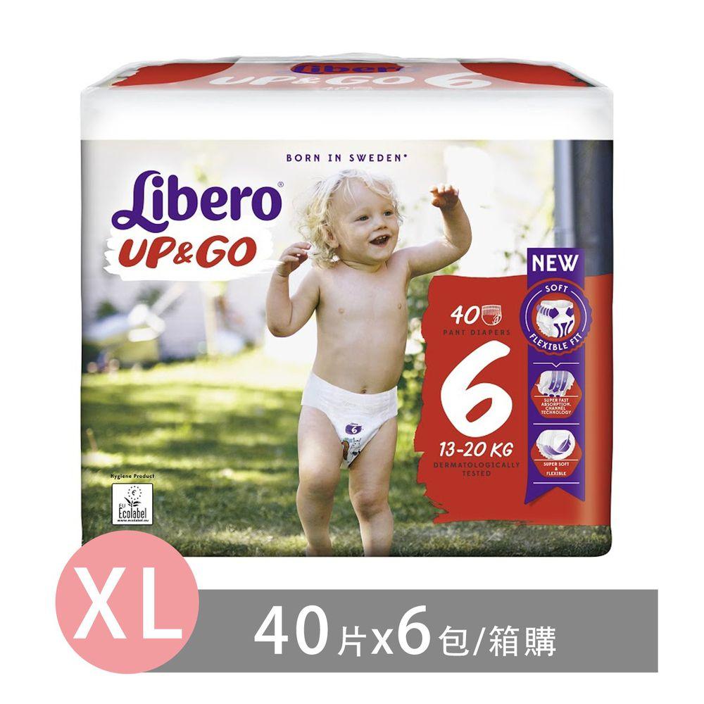 麗貝樂 Libero - 褲型紙尿褲-敢動褲6號(新升級)-超薄合身超好動 (XL/6號)-40片×6包