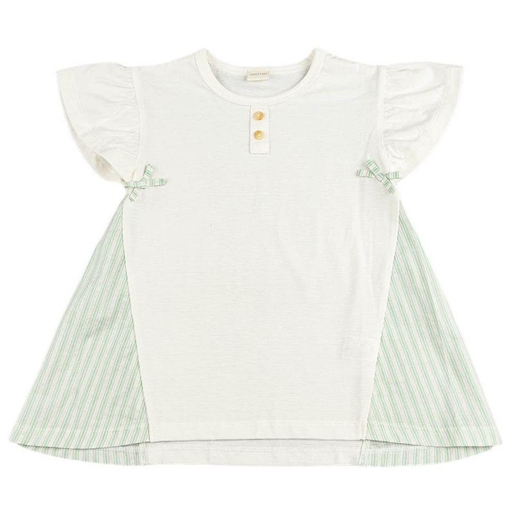 akachan honpo - 下擺拼接短袖T恤-白色