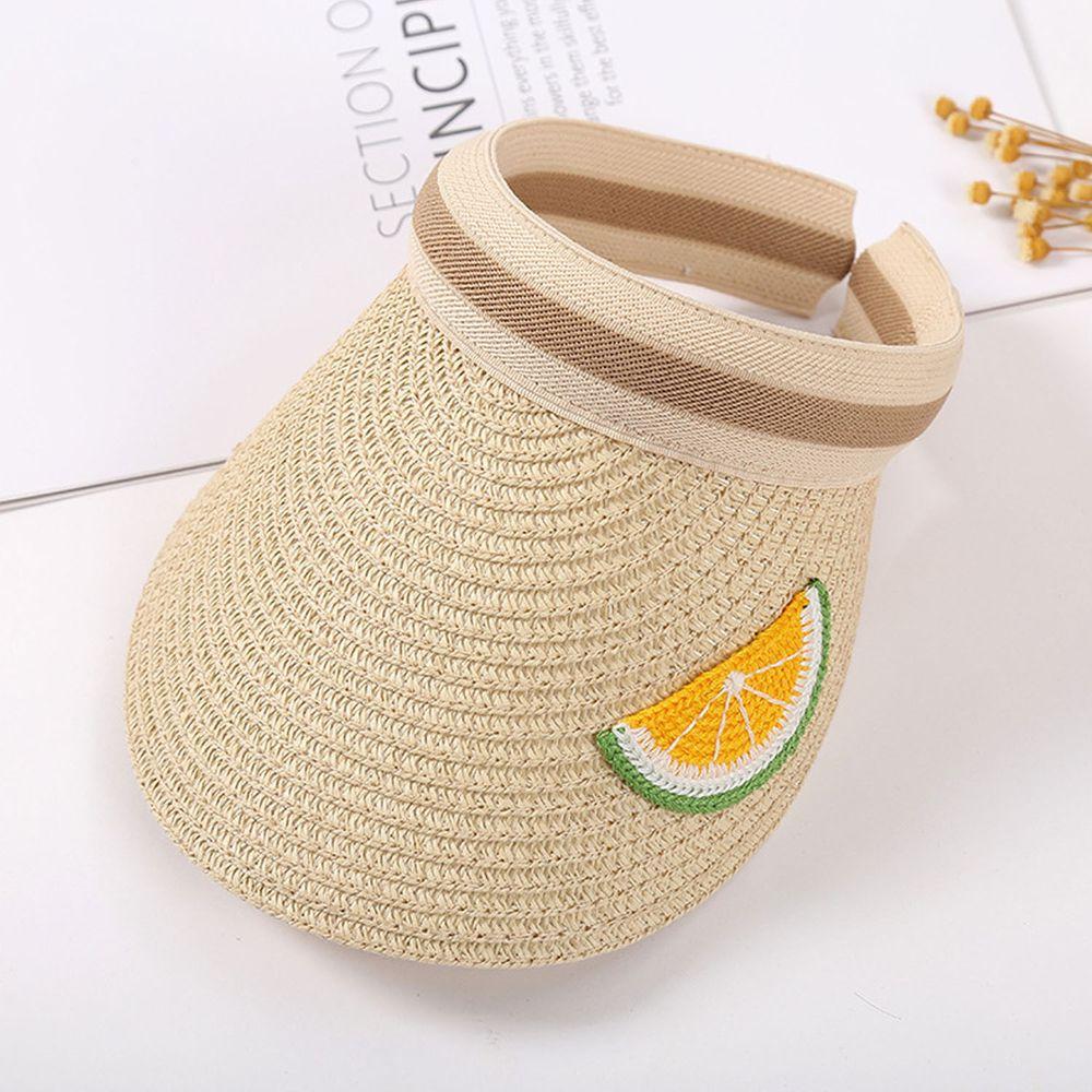 兒童刺繡空頂遮陽草帽-米色