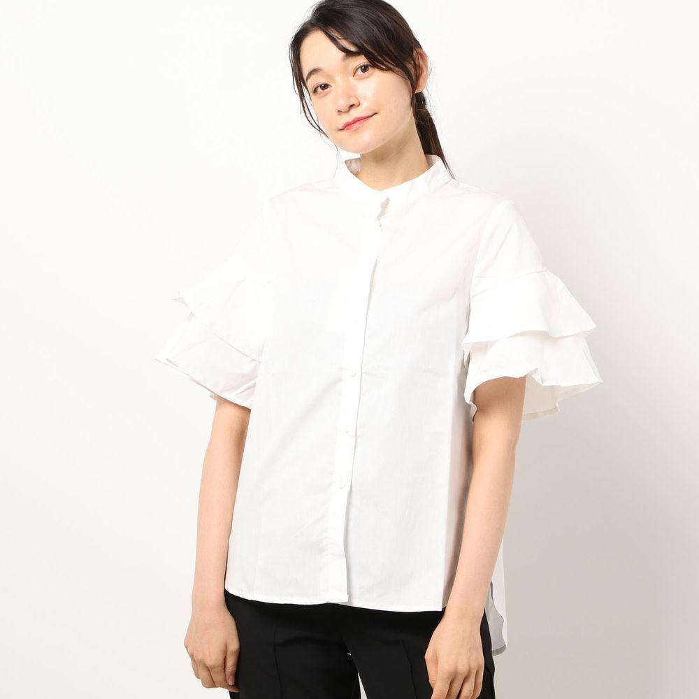 日本 Riche Glamour - 純棉 落肩雙層蛋糕袖設計五分袖襯衫-白