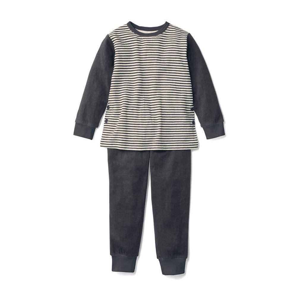 日本千趣會 - 100%純棉 (兒童)發熱家居服/睡衣(背部加厚)-深灰