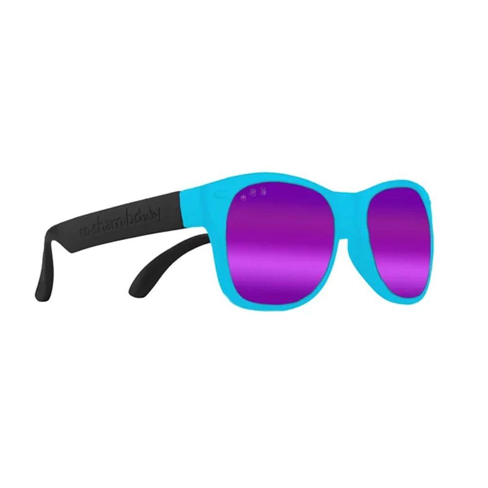 美國 Roshambo - Roshambo繽紛視界 時尚墨鏡-寶寶款-藍黑雙色-偏光鏡片紫 (0-3Y)