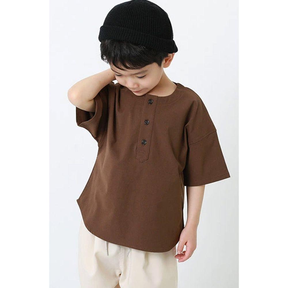 日本 devirock - 街頭風寬版三釦五分袖上衣-摩卡棕