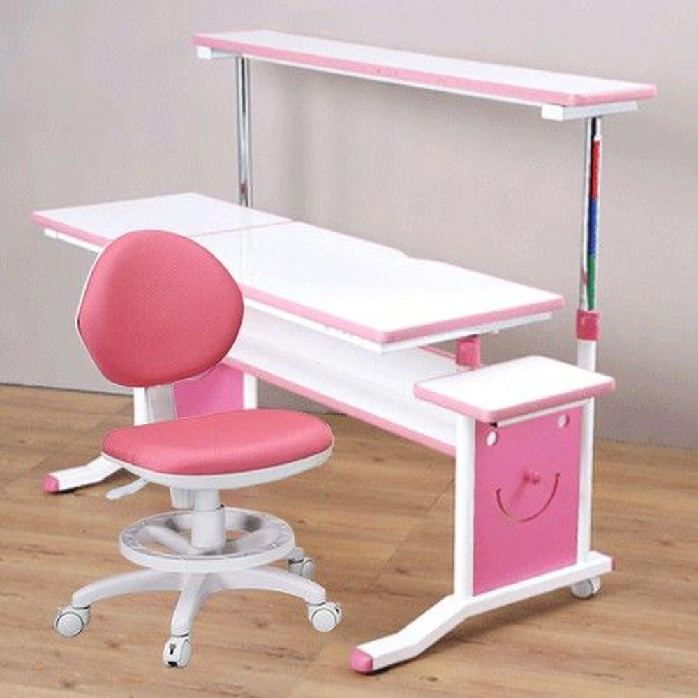 創意小天才 - 第五代兒童專用120cm調節桌二件組(桌+素養家椅)/兒童書桌椅-俏皮粉