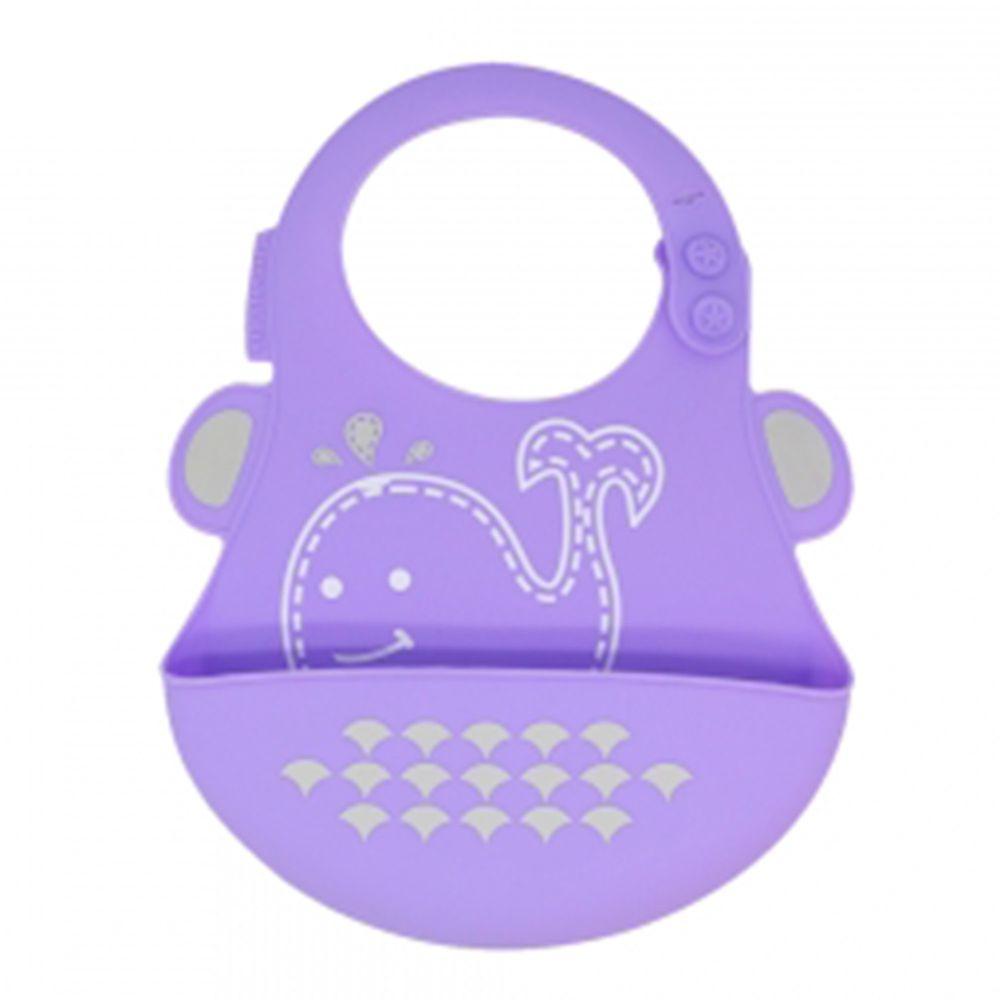 MARCUS&MARCUS - 動物樂園矽膠立體圍兜-紫鯨魚