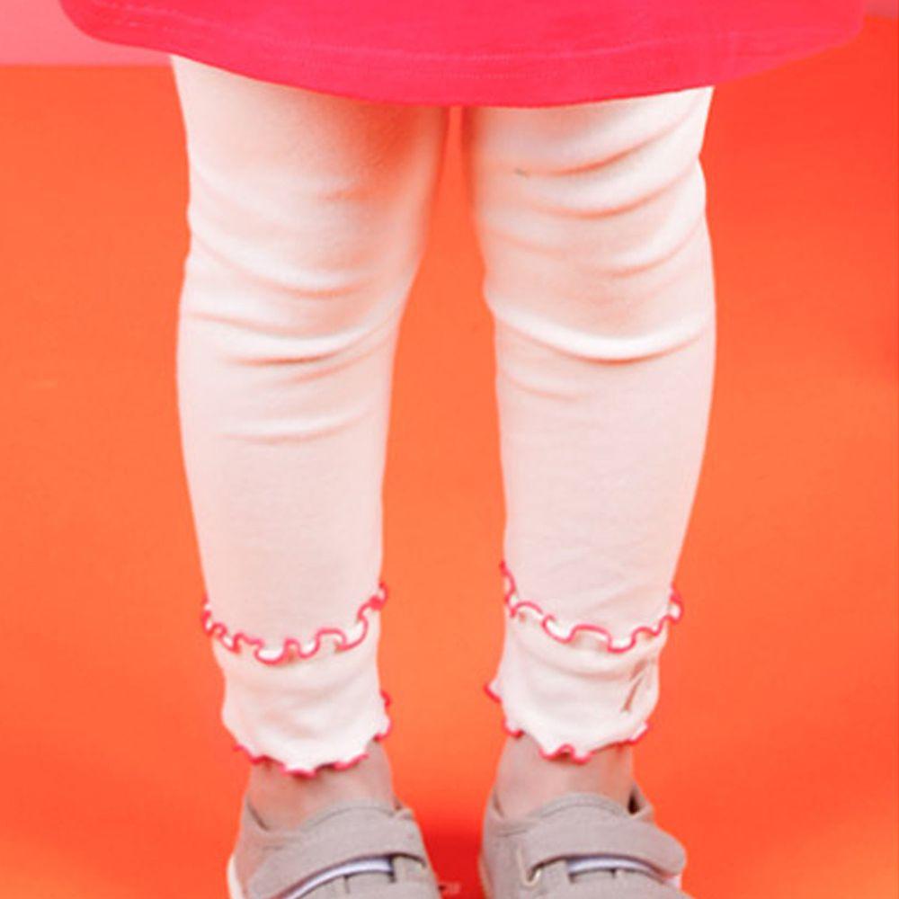 韓國 Jelispoon - 捲邊薄款內搭褲-象牙白