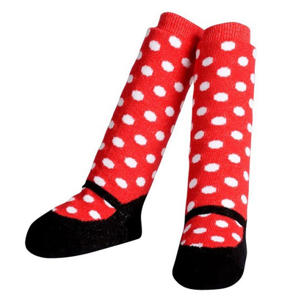 美國 Jazzy Toes - 時尚造型棉襪單入組-俏皮點點紅襪