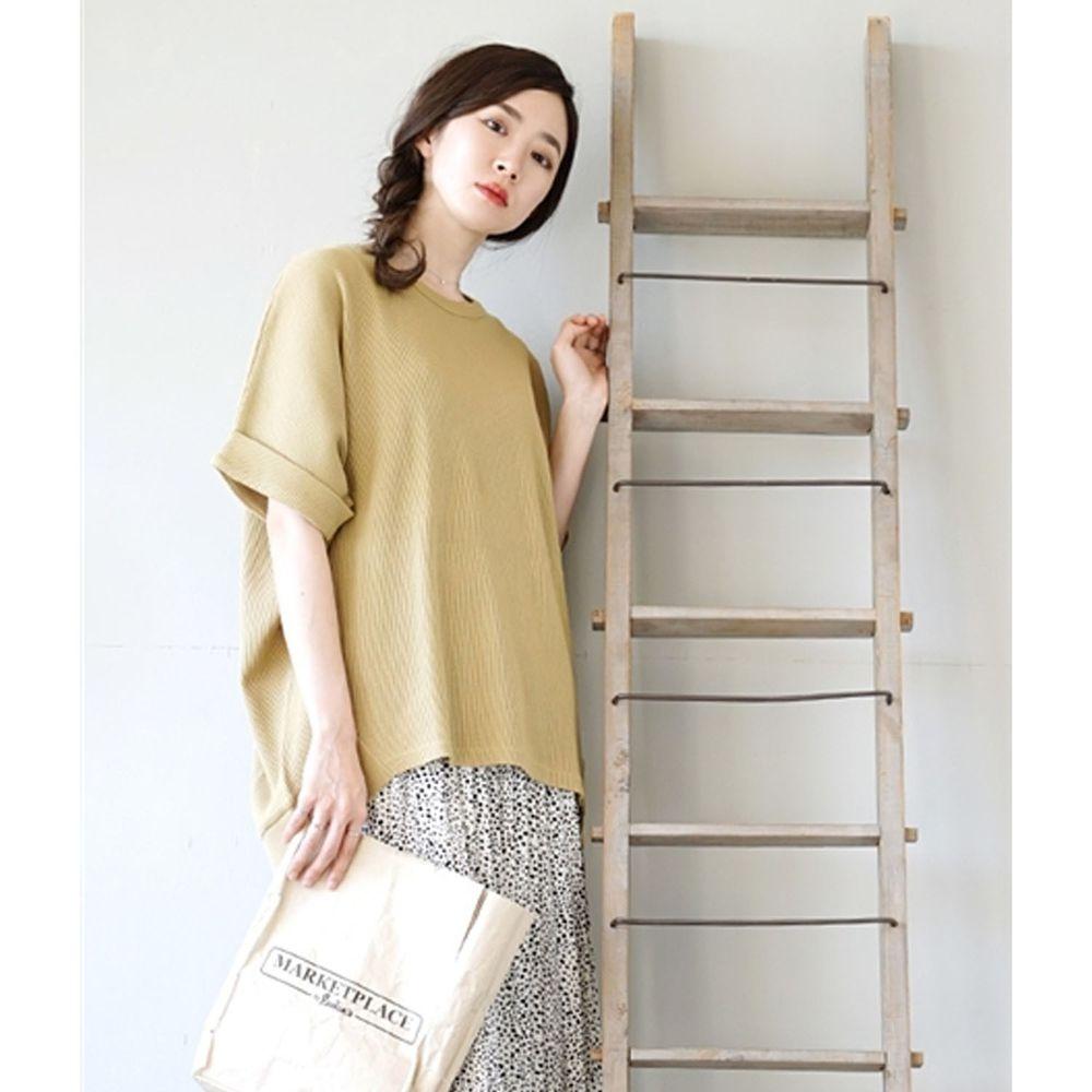 日本 zootie - 純棉鬆餅紋顯瘦五分袖寬版上衣-芥末黃